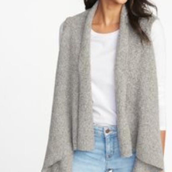 Waterfall Knit Cardigan Vest Grey sz S NWT